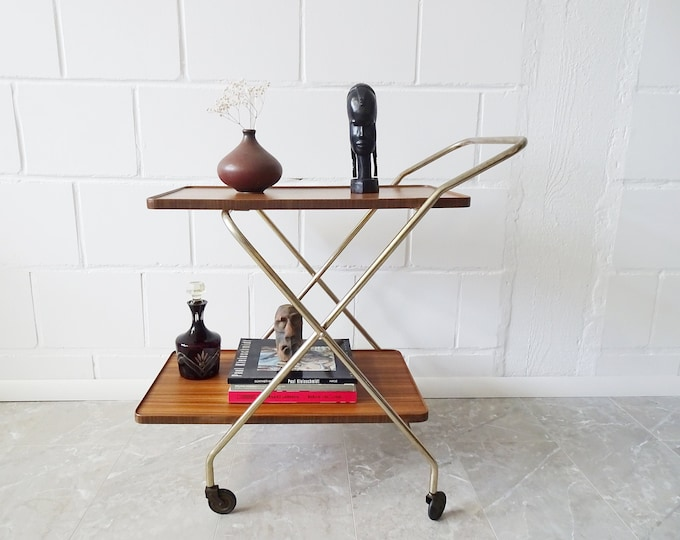Featured listing image: foldable serving trolley in gold and walnut look, Mid Century bar trolley, tea cart