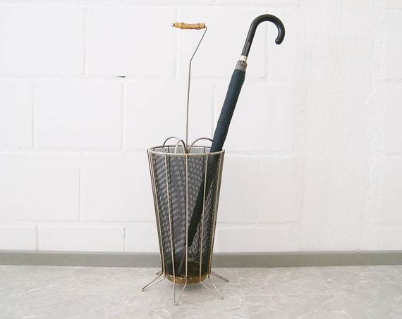 french umbrella stand 1950s metal in Mategot style
