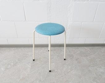 round stool in light blue, kitchen stool 1960s