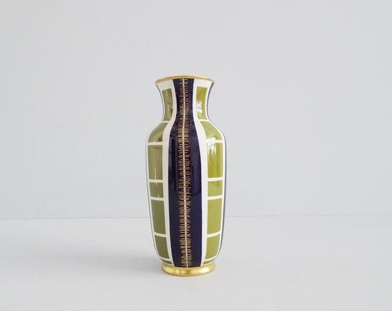 Art Deco Porcelain Vase, Golden Prince Günter Brand, Aelteste Volkstedt Porcelain Factory, Real Cobalt