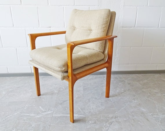 Lübke armchair cherry wood with back and seat cushion in beige
