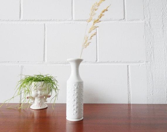 Royal KPM Biscuit Porcelain Vase, White Flower Vase, Solifleur