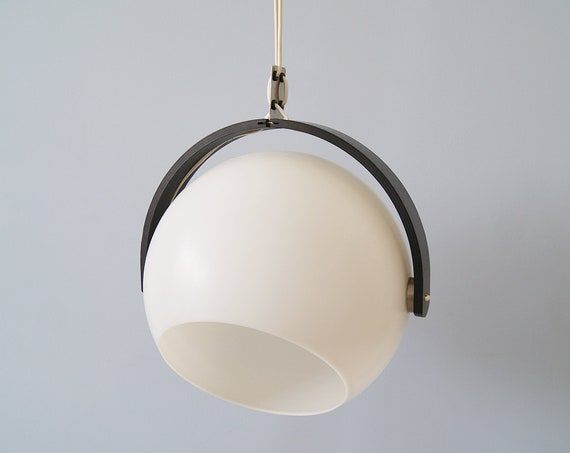 Temde hanging lamp 1970s, black white hanging ball light