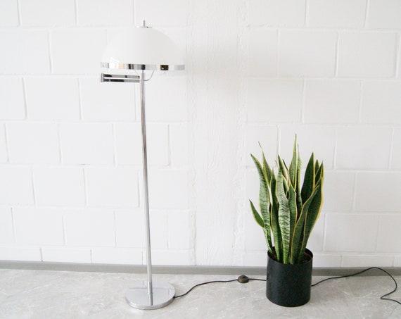 Floor lamp chrome and acrylic by Schulz & Adam with swivel arm, mid century lighting