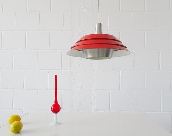 Metal hanging lamp red Mid Century Scandinavian design, pendant lamp