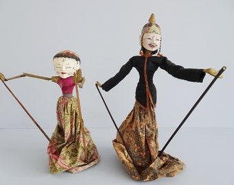 Indonesian shadow dolls 60s, Wayang Golek wooden doll