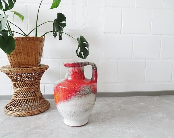 Karlsruhe Majolica Floor Vase Design Fridegart Glatzle, Handle Vase 40 cm High