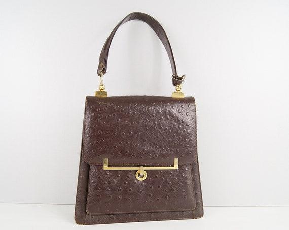 brown handbag mid century, handle bag 50s