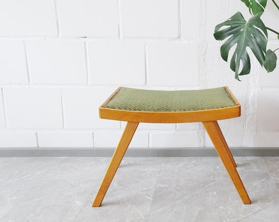 Ottoman Mid Century, footstool, piano stool, wood stool upholstered in green