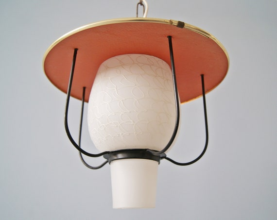 Hanging lamp 50s made of glass, metal and brass, pendant light rewired
