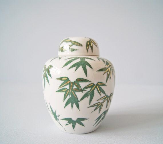 small Japanese ceramic tin and bamboo decor, ceramic storage, vase