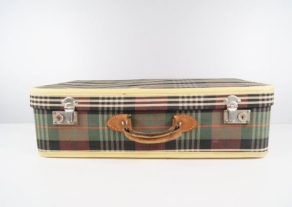 Suitcase plaid 1960s, green checkered suitcase