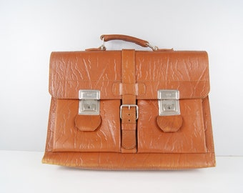 Briefcase light brown embossed leather, document bag