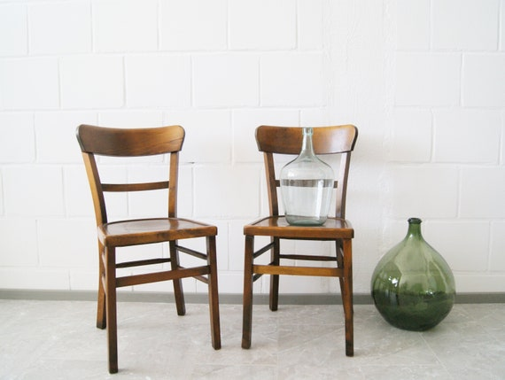 Vintage wooden chair set by Luterma, bistro chair