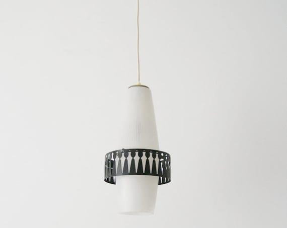 Pendant lamp mid century, large 50s glass pendant lamp, bag lamp