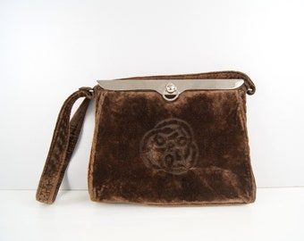 art deco handbag in brown velvet, handle bag 20s