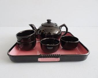 schwarzes Teeservice mit Tablett, Mid Century Service schwarz rosa