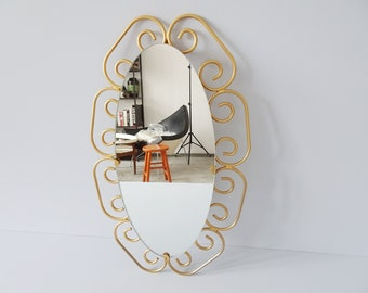 oval mirror gold, mid century wall mirror gold color, mirror in gold frame
