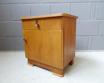 Night cabinet oak veneered, plain bedside table, small dresser