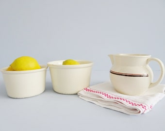 Ceramic set of two pots and a jug, Art Deco pottery, plant pot, planter, jug