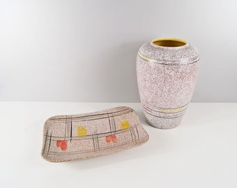 Scheurich vase and bowl with graphic pattern