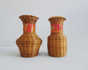 Pair of rattan vases, braided vase 1960s with glass insert