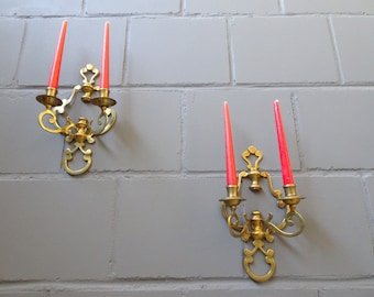Wall candle holder brass, candle holder set made of brass casting, wall chandelier