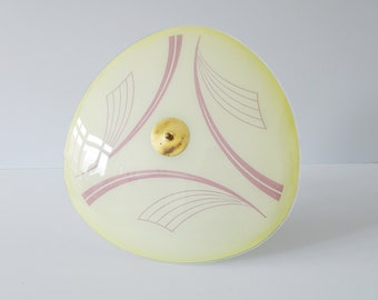 Rod ceiling lamp in yellow green glass with pink pattern, plate lamp 1950s