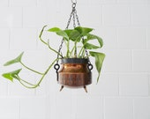 Flower lamp plant pot made of copper and brass with graphic pattern, metal planter