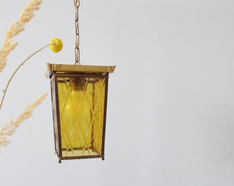 Hanging lamp 50s made of brass and polished glass, lantern lamp