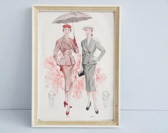 Mode Druck, 50er Jahre Mode Bild gerahmt, Pastellfarbenes Wandbild