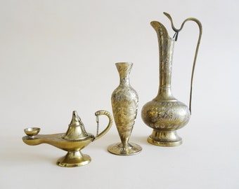 Indian Brass Vases Set with Aladin Lamp, Set of 3