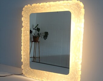 large illuminated wall mirror made of acrylic in ice glass optic, XL wall mirror 73 cm