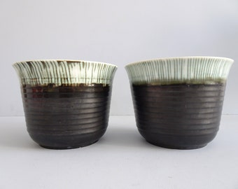 Ceramic Planter Set in Green, Art Deco Flower Pot