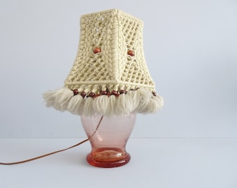 Mid Century table lamp handmade from glass and wool and wood, boho glass bedside lamp