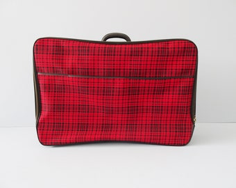 Suitcase with rooster step pattern red black, checkered suitcase, retro travel suitcase