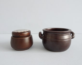 brown ceramic set, small plant pot and ceramic can