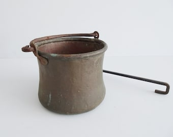 antique copper boiler hand hammered with forged rod, copper bucket, flower light, planter