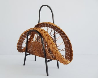 Rattan newspaper stand with wrought iron, magazine stand 1960s