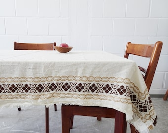 large woven tablecloth in beige brown 152 cm x 117 cm, cream-coloured table linen