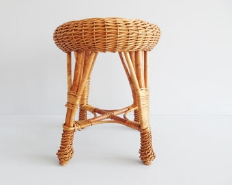 round rattan stool, small side table made of willow braid, boho plant stand