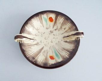 large Art Deco ceramic plate with colorful uranium glaze