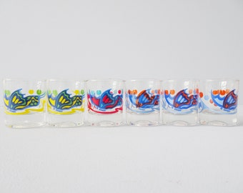Italian shot glasses hand painted with butterfly, spirits glasses Italy