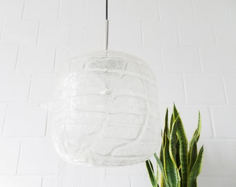 large cylindrical Doria glass pendant lamp made of ice glass, Mid Century glass pendant lamp