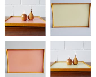Tray 50s wooden and resopal in yellow and pink, Mid Century Serving