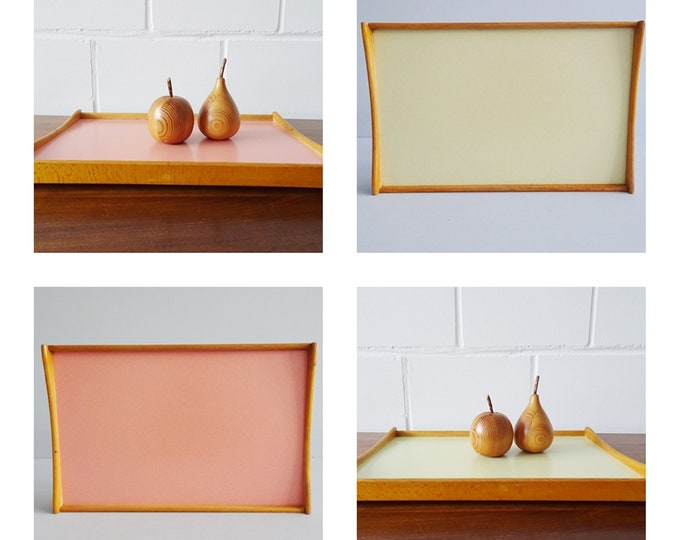 Featured listing image: Tray 50s wooden and resopal in yellow and pink, Mid Century Serving