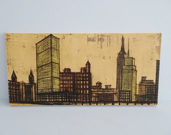 Bernard Buffet New York 58 Print, Mid Century Picture on Wood