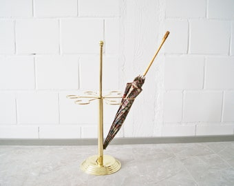 gold-coloured umbrella stand, Mid Century umbrella stand