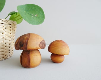 turned mushrooms made of solid wood, wooden mushrooms, natural autumn decoration