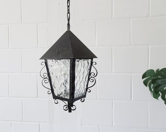 French hanging lamp made of iron and glass, lantern lamp